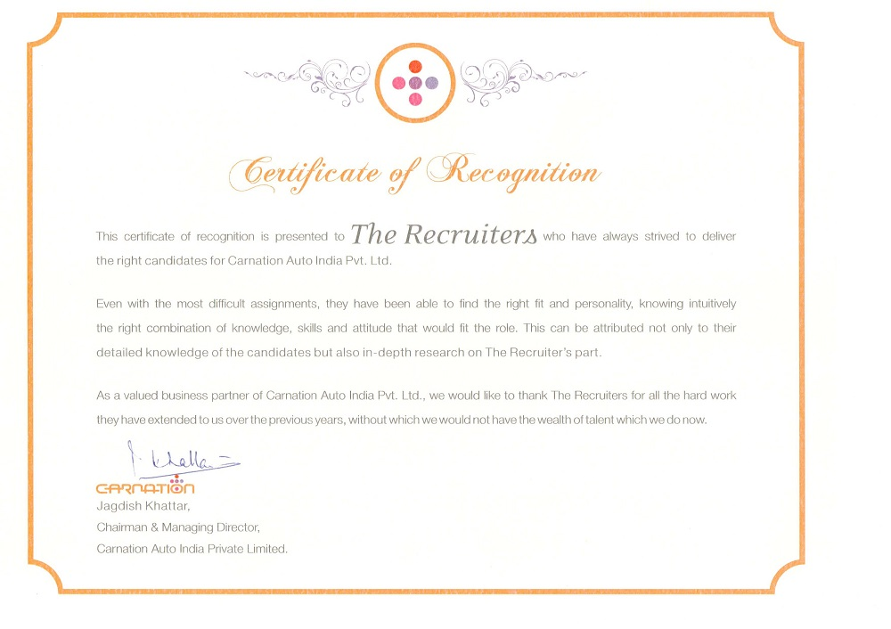 Certificate - The Recruiters from Carnation Auto